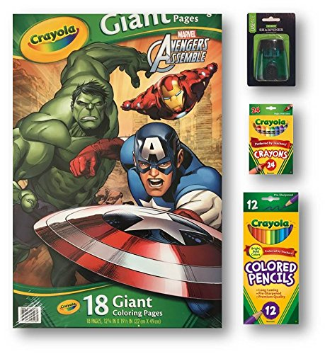 Coloring Book Pages of Beloved Super Heroes, Includes Crayons (24), Colored Pencils (12) and a 2-Hole Pencil Sharpener, These are Giant Fun-Filled Pages That Children Will Marvel At
