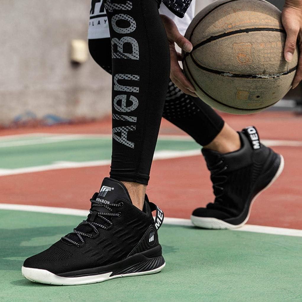 LangfengEU Mixte Adulte Chaussure de Basket-Ball Montante dEntra/înement Compens/ée Antichoc Femme Homme Chaussure de Sport Outdoor Respirant a Lacet Endurance