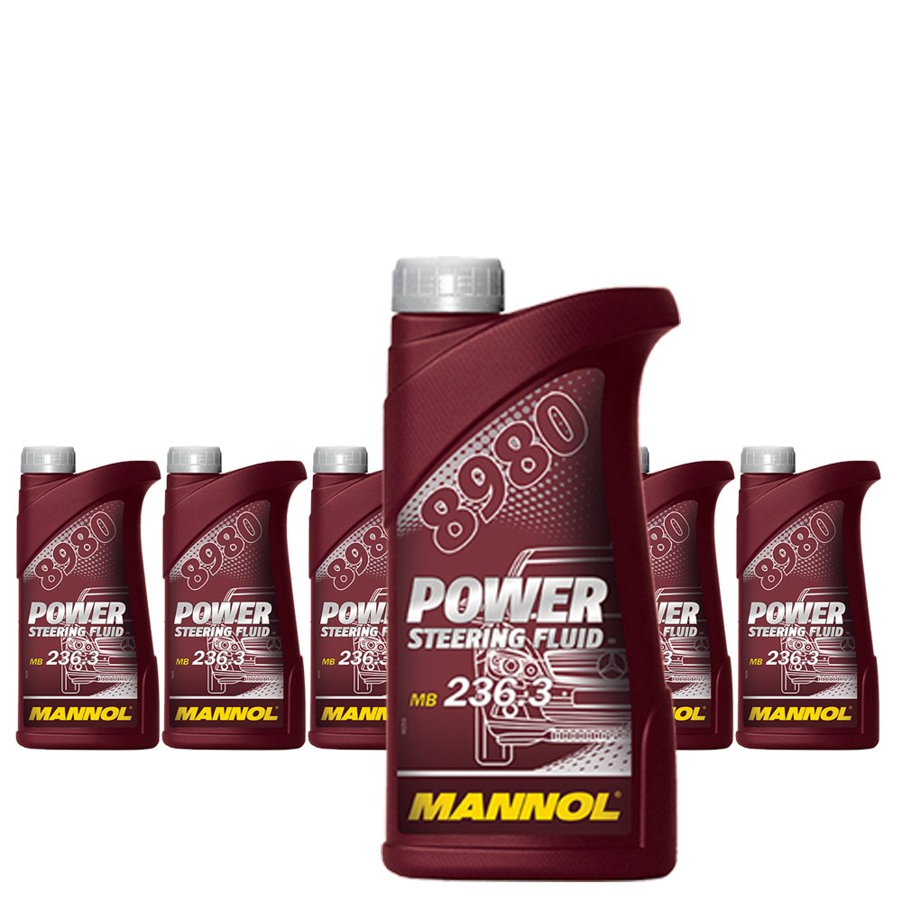 MANNOL 6 x 500ml 8980 Power Steering Fluid/Servooel 236.3 Gelb/Braun SCT