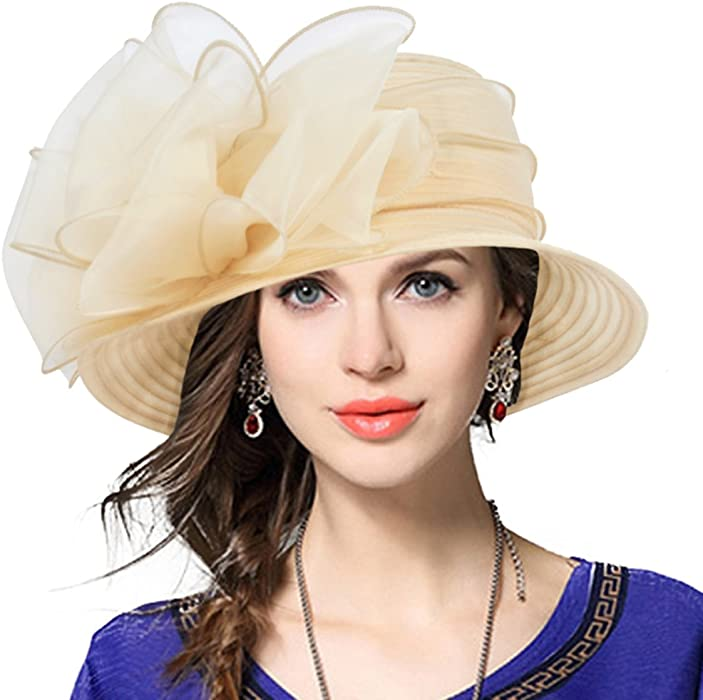 VECRY Lady Derby Dress Church Cloche Hat Bow Bucket Wedding Bowler ... 9ce9cddcda9