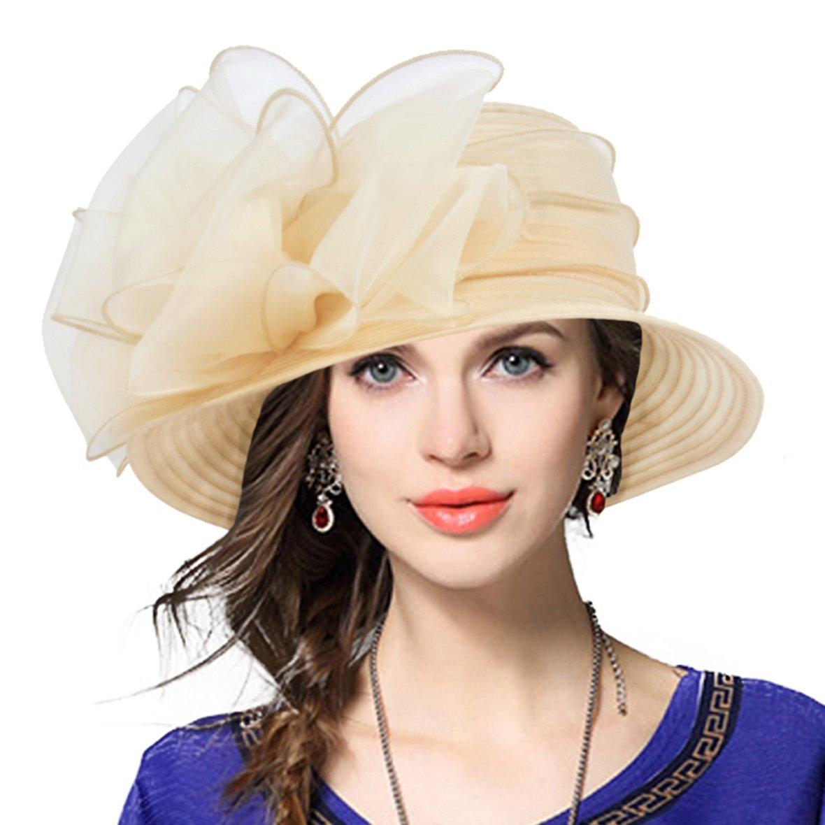 Lady Derby Dress Church Cloche Hat Bow Bucket Wedding Bowler Hats (Apricot, Medium)