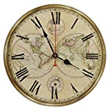 Old Oak 14-Inch Silent Non-Ticking Battery Operated Decorative Wall Clock with Classic Retro World Map Roman Numerals for Kitchen Living Room Bathroom Bedroom Wall Home Decor