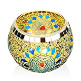 ANCREU Candle Holder Handmade Mosaic Votive, Glass Candle Holder with 4 LED Tealight for Home Decor Festival Celebration Wedding Party Gift 2018