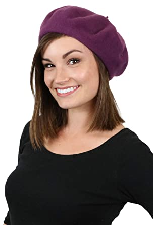 06b0599a1b61a Brigette Classic Wool Beret by Parkhurst (DUSTY PLUM)  Amazon.co.uk   Clothing