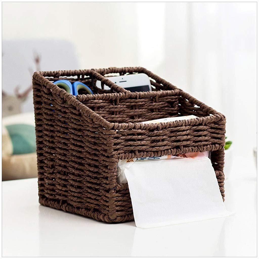 DESTDOU Desktop-Aufbewahrungsbox Strohkorb Fernbedienung Couchtisch Multifunktionale Tissue Box Storage Tragbare und ordentliche Aufbewahrungsbox (Farbe   Khaki) B07PVF77LH | Verschiedene