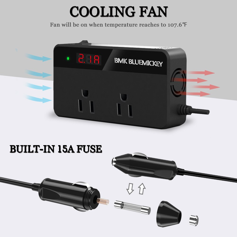 BMK 200W Car Power Inverter DC 12V to 110V AC DC Adapter 4 USB Ports Charger Adapter Car Plug Converter with Switch and Currency LCD Screen