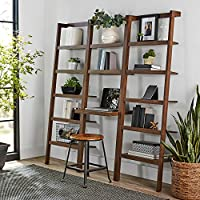 Mainstays Sumpter Park Ladder Bookcase Home and Office Desk (Brown)