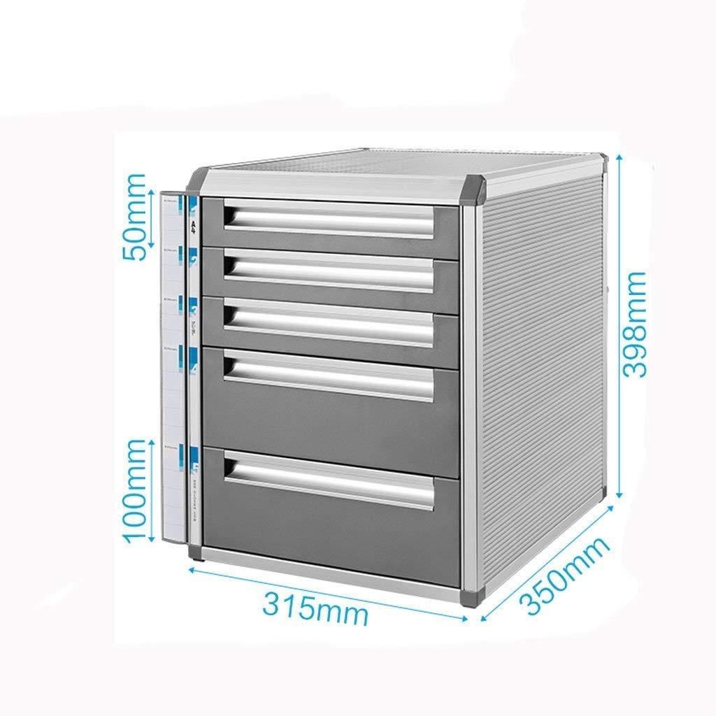 Ktzhk Desktop File Cabinet Aluminum Alloy Lockable Data Office Storage Drawer Filing Cabinet Confidential Box Flat File Cabinet (5 Layers-Large) by Ktzhk