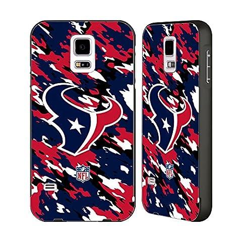 Official NFL Camou Houston Texans Logo Black Aluminum Bumper Slider Case for Samsung Galaxy S5 / S5 (Houston Texans Samsung S5 Case)