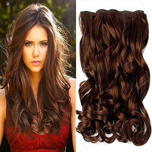"""Neverland Beauty 22"""" 3/4 Full Head One Piece Clip in Wavy Curly Hair Extensions Chestnut Brown from Neverland Beauty & Health"""