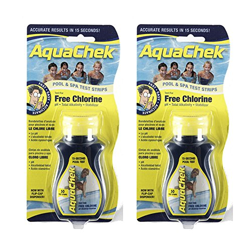 AquaChek 511244-02 Yellow 4-In-1 Free Chlorine Test Strips (2 Pack)