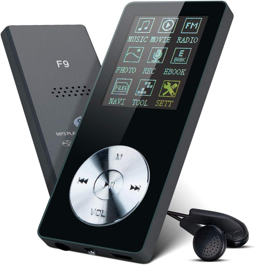 Lychee Reproductor MP3 con Auriculares,8GB Reproductor de Música Metalico con Altavoz Interna, Radio FM, Extensible Memoria hasta 64GB (Negro)