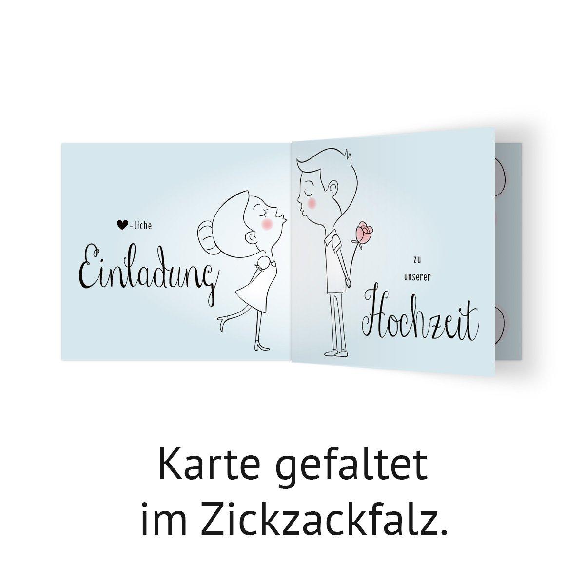 50 x Hochzeit Einladungskarten Hochzeitseinladungen Hochzeitskarten K/üssendes Paar