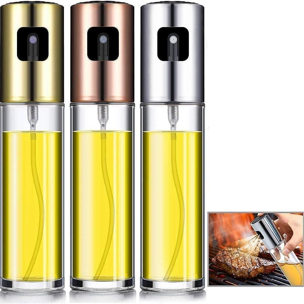 3Pcs Oil Sprayer Bottle Set, for Cooking Olive Oil Sprayer Refillable Dispenser Glass Bottle with Measurements BBQ/Making Salad/Baking/Roasting/Grilling/Frying Kitchen 100ml