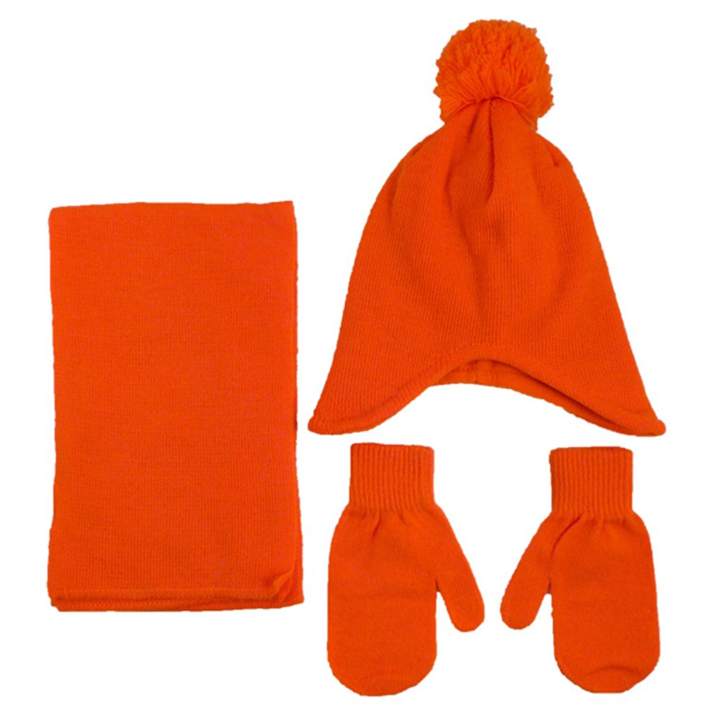 Unisex Kids Toddler Winter Warm Knitted Fleece Pom Pom Beanie Scarf Mitten Set