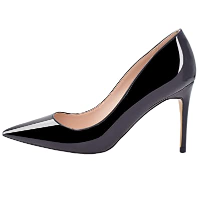 a92935689 Lovirs Womens Black Office Basic Slip on Pumps Stiletto Mid-Heel Pointy Toe  Shoes for