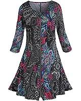 Women's Zip-Front Dress - Pretty Paisley On Black