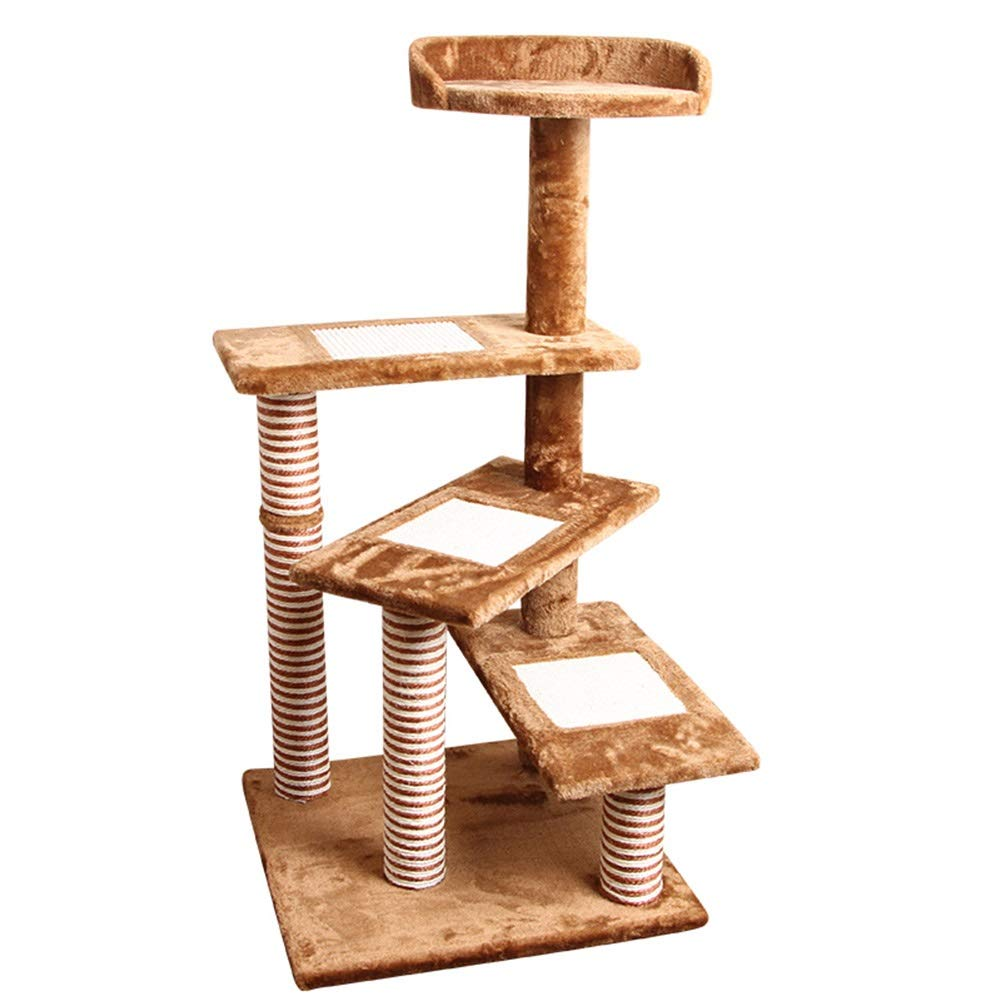 Brown 50x50x100cm Brown 50x50x100cm LXHONG-Cat tree Climbing Frame Solid Wood Support Stable Multi-layer Integrated Design Jump Platform Toy (color   Brown, Size   50x50x100cm)