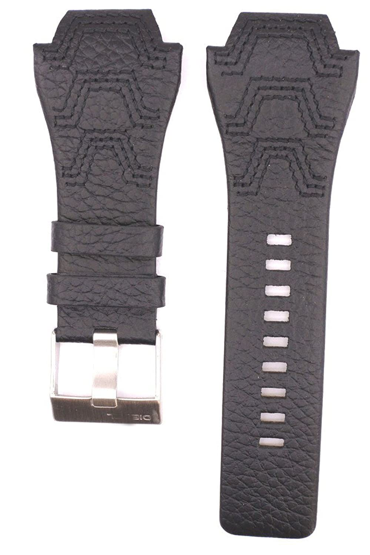32 mm本革時計ストラップフィットfor dz1268 dz1267 dz1265 dz1401 dz1266 32mm ブラック  ブラック B07CB4Q7WH