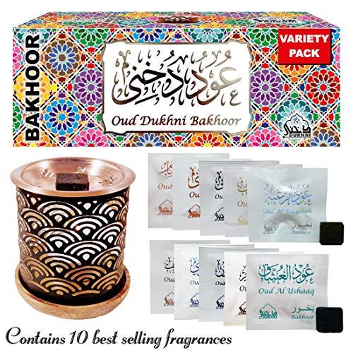 Dukhni Oud Bakhoor Incense Variety Box & Rainbow Bakhoor Burner - Gift Set & Starter Kit ()