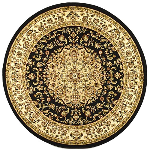 - Safavieh Lyndhurst Collection LNH222A Traditional Oriental Medallion Black and Ivory Round Area Rug (7' Diameter)