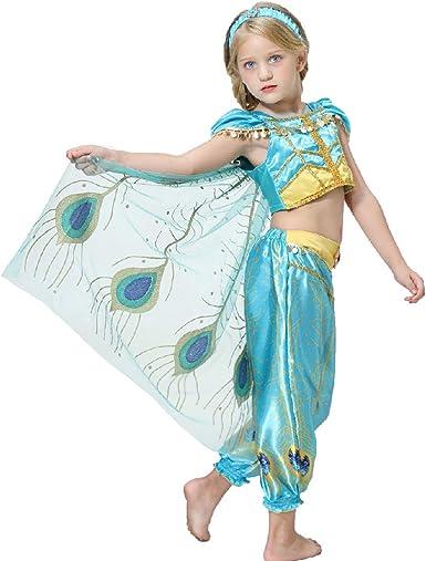 wetry Conjunto de Disfraces de Princesa Jazmín + Banda para el ...