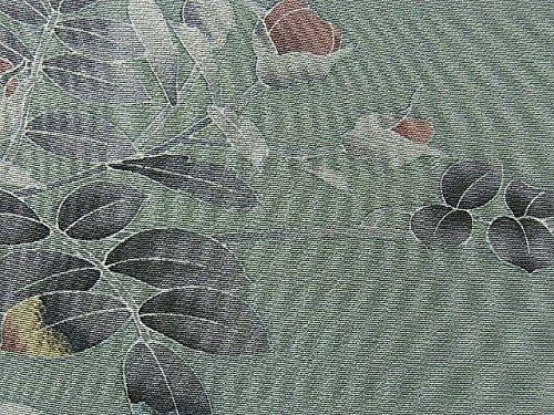 リサイクル 着物 訪問着 花の蕾と植物模様 上品 裄cm63.5 身丈159.5cm