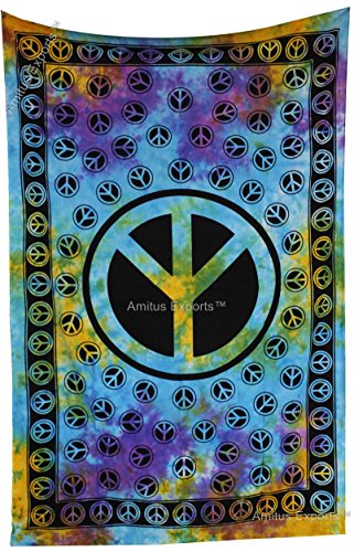 Amitus Exports(TM) Premium Quality 1 X Peace Sign Multi Tie Dye Color Size 81X53 Inches (Approx.) Indian Mandala Tapestry Thin Cotton Fabric Throws …