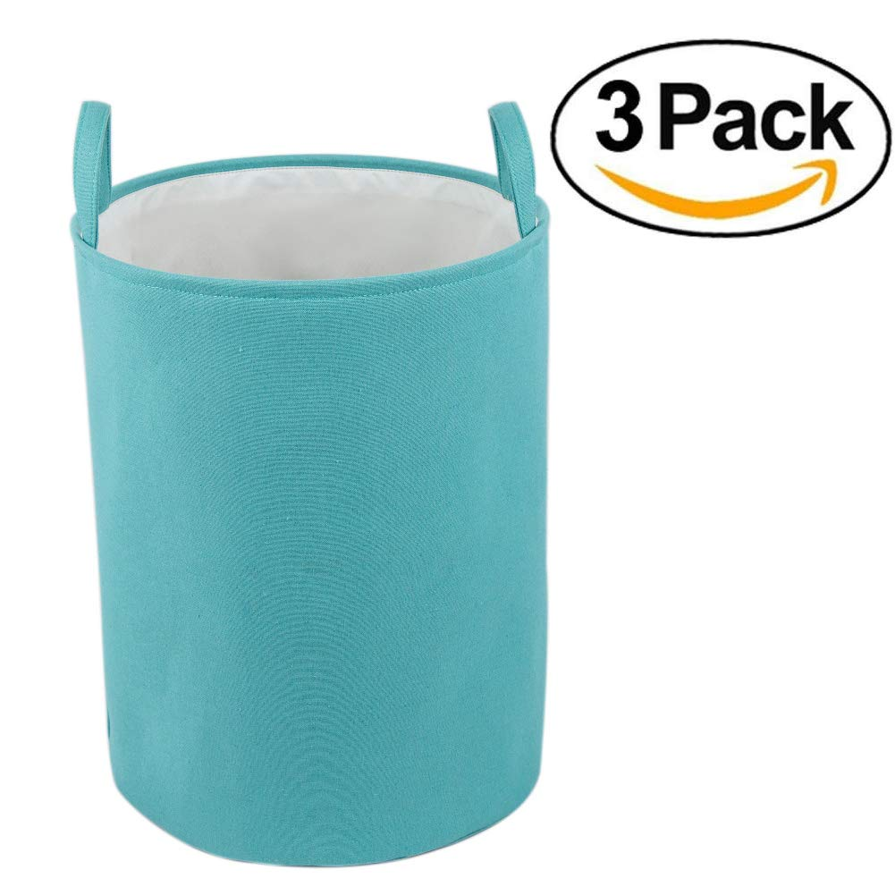 Every Deco Turquoise Fabric Lined Collapsible Metal Wire Storage Bucket Bundle Set of 3