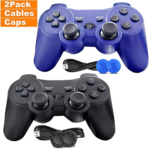 PS3 Controller, 2 Pack Wireless PS3 Controller Dual Vibration Compatible for Playstation 3 with Charge Cable (Blue and Black) (Two Pack)