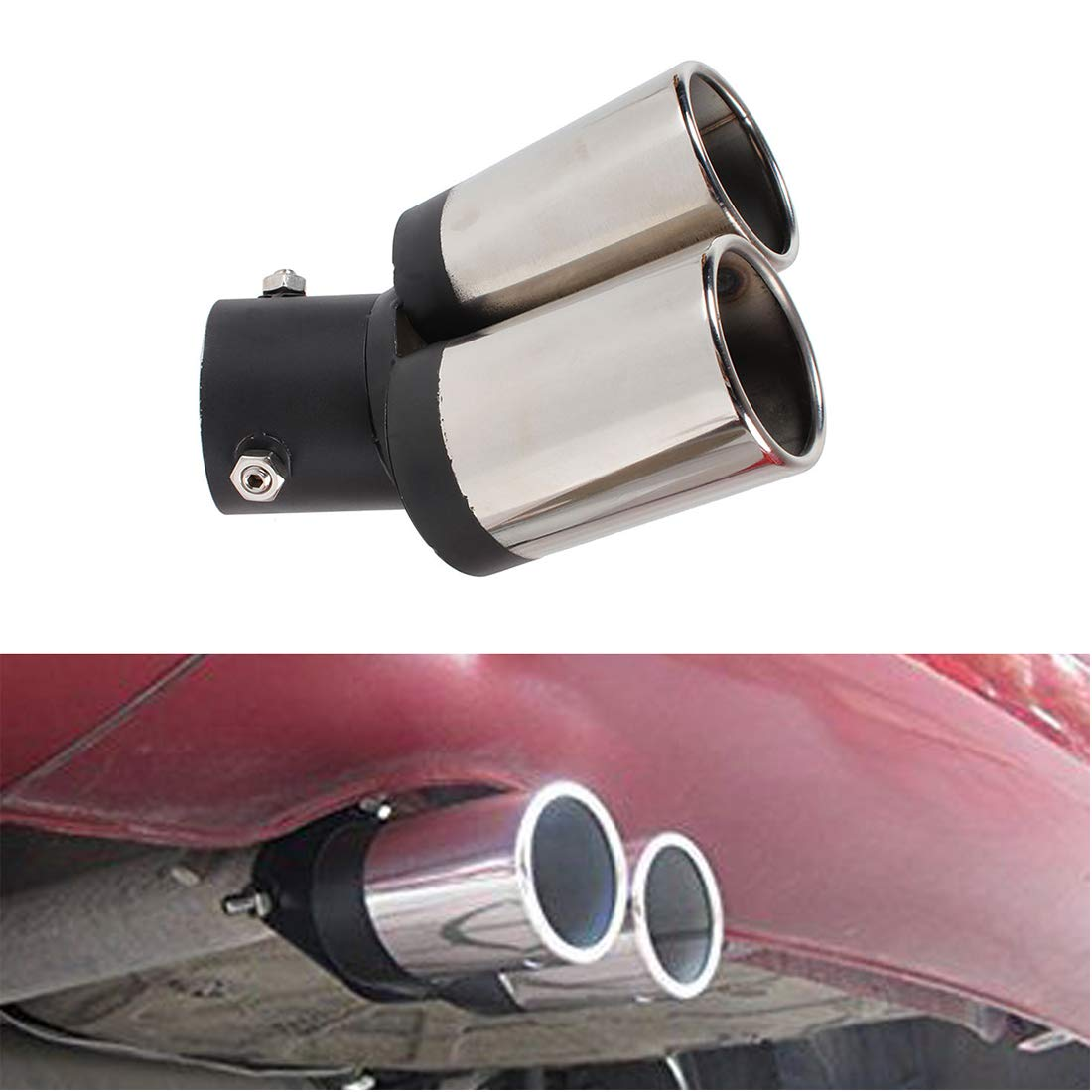 sourcingmap Car Exhaust Muffler Tail Pipe Trim Decorative Tip 75mm Inlet