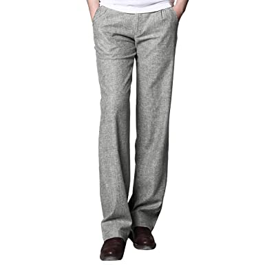 b73cde6eb30 MARKLESS Men Summer Thin Straight Linen Pants Casual Commercial Slim Fit  Beach Trousers Light Gray