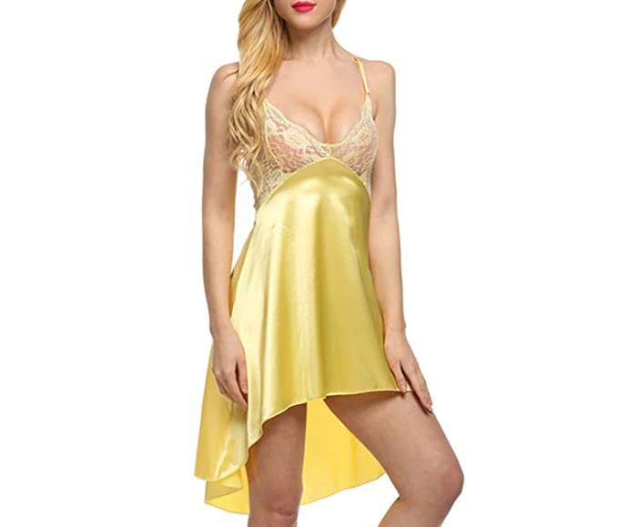 bc4f3ed7988b ChiffonedChiffonedLadies Sexy Satin Night Dress Lace Women Sleepwear  Sleeveless Nighties V-Neck Nightdress Sexy Nightgown
