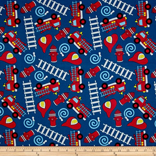 - Santee Print Works Kid's Choice Fire Trucks Royal Fabric by The Yard,