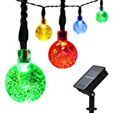 easyDecor Globe Solar String Lights 30 LED 21ft 8 Mode Bubble Crystal Ball Christmas Fairy String Lights for Outdoor Xmas Landscape Garden Patio Home Holiday Path Lawn Party Decoration (Multi Color)