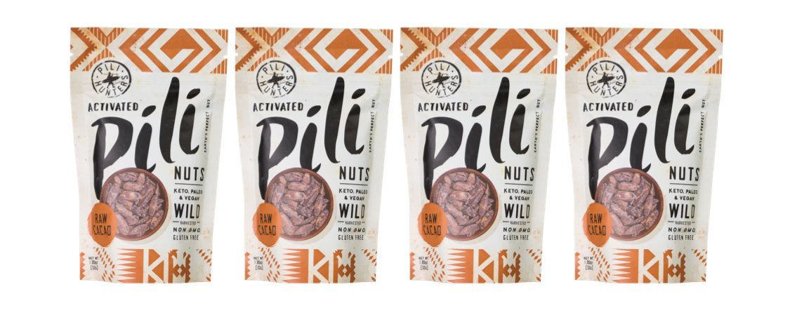 Pili Hunters Wild Sprouted Pili Nuts, Raw Cacao, Paleo, Keto, Vegan, Low Carb, 1.85 oz. Bags - 4-pack