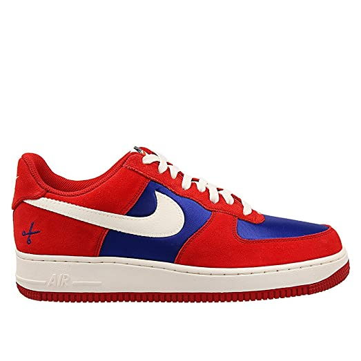 Nike Men's Air Force 1 Low Gym Red/Deep Royal Blue/Sail Suede Casual