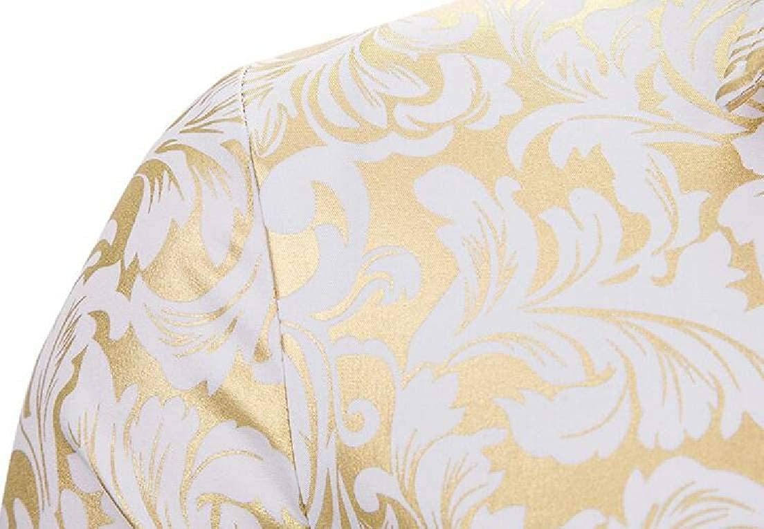 SELX Men Luxury Long Sleeve Casual Button Gold Print Shirts