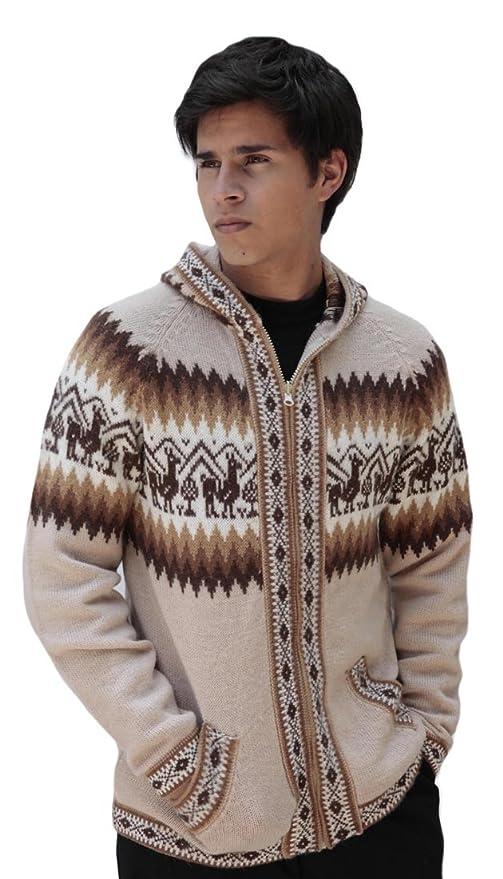 Amazon.com: Para hombre lana de alpaca chamarra de punto con ...