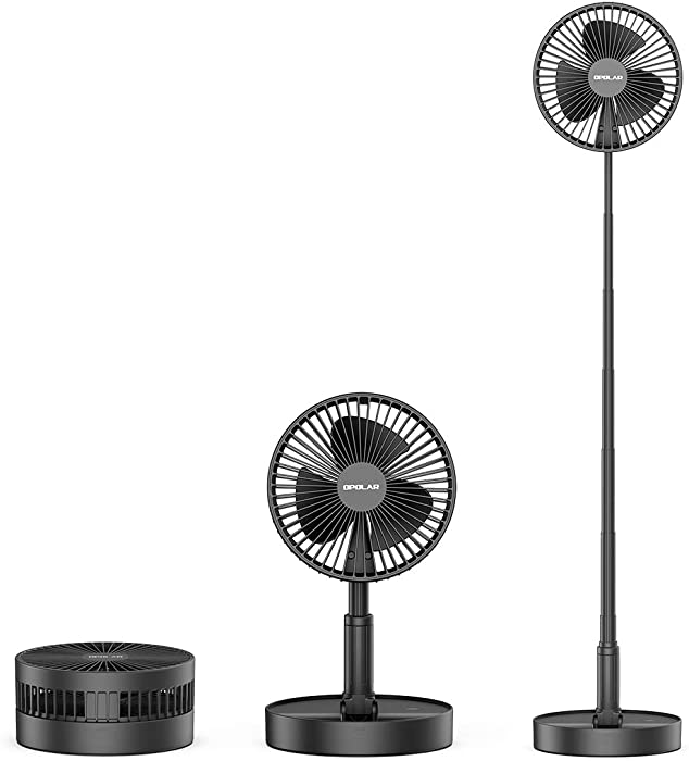 OPOLAR 7200mAh Rechargeable Battery Operated Foldaway Fan, Adjustable Standing Height, Quiet USB Personal Pedestal Fan Portable for Home Office Outdoor Camping Tent Travel