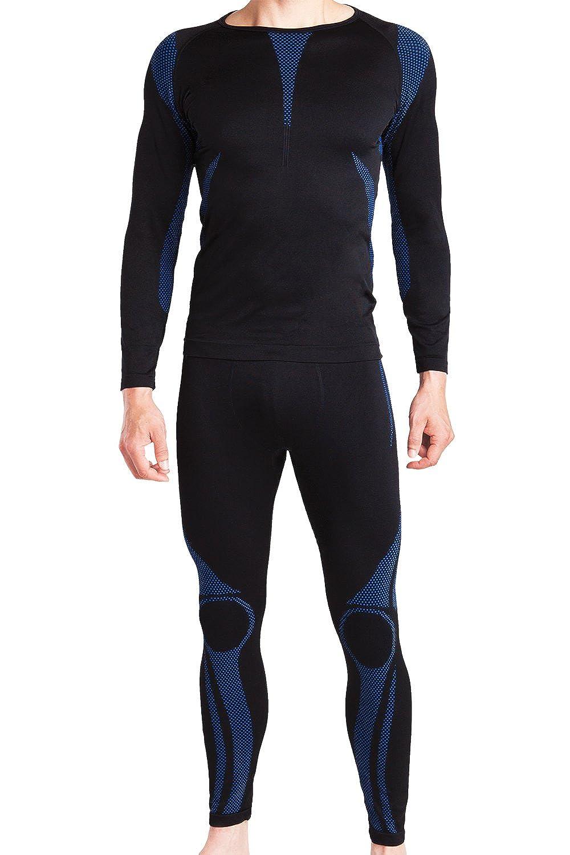 celodoro - Set de ropa deportiva funcional sin costuras para hombre - Camiseta y pantalón térmicos con elastano - Para esquí - En diferentes colores
