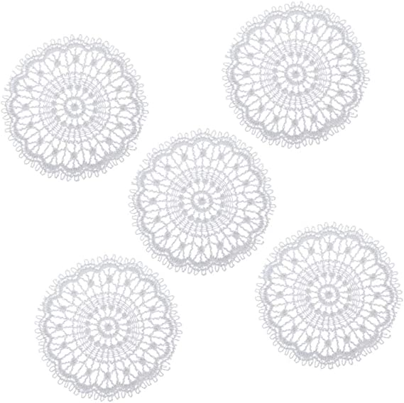 1:12 Mini Tablecloth White Lace Openwork Mat Dollhouse Miniature Tables