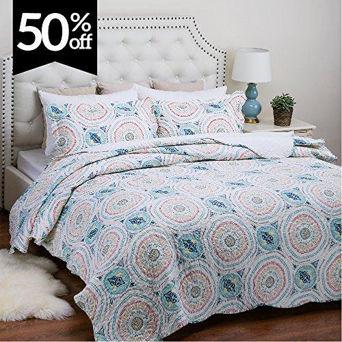 "Bedsure Printed Quilt Coverlet Set Full/Queen(86""x96"") Blue Aqua Boho Medallion Pattern Lightweight Hypoallergenic Microfiber Tangier"