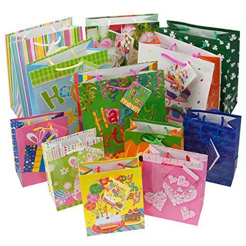 12pc Gift Bags Set Birthday Valentines Easter Halloween Bulk