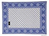 Occitan Imports Esterel Ecru/Ciel Bordered French Place Mat, Set of 4