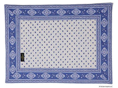 Occitan Imports Esterel Ecru/Ciel Bordered French Place Mat, Set of 4