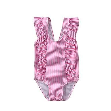f5aec1e48e Newborn Baby Girl Floral Swimsuit Ruffles Bathing Suit Bikini Striped  Swimwear for Baby Girls Beach Wear
