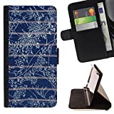 BINGO - FOR Sony Xperia Z5 compact / mini - Royal stitched blue floral pattern - Leather Cover Case High Impact Absorption Case