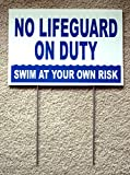 1 Pc Paramount Popular No Lifeguard Duty Signs Plastic Coroplast Swim Declare Warning Beach Size 8'' x 12'' with Stake