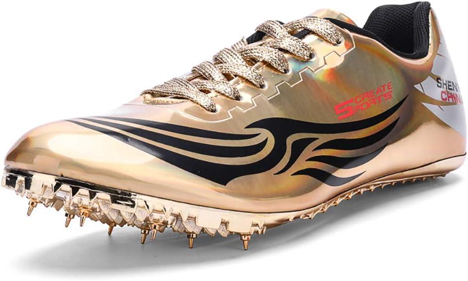 ZLYZS Zapatillas de Atletismo Unisex, 8 Clavos de competición de Atletismo al Aire Libre Zapatillas de Clavos Deportivas Profesionales,Oro,35EU: Amazon.es: Hogar